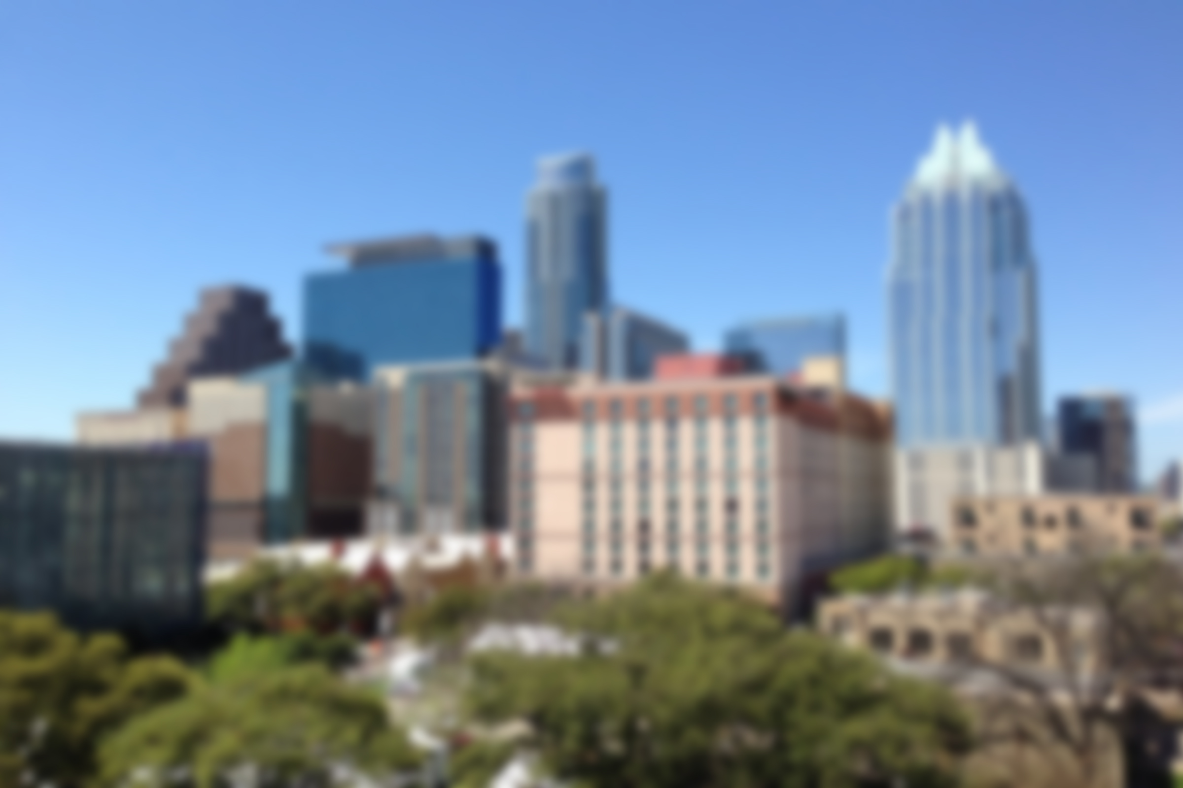 A photo of Austin's skyline, but blurred.