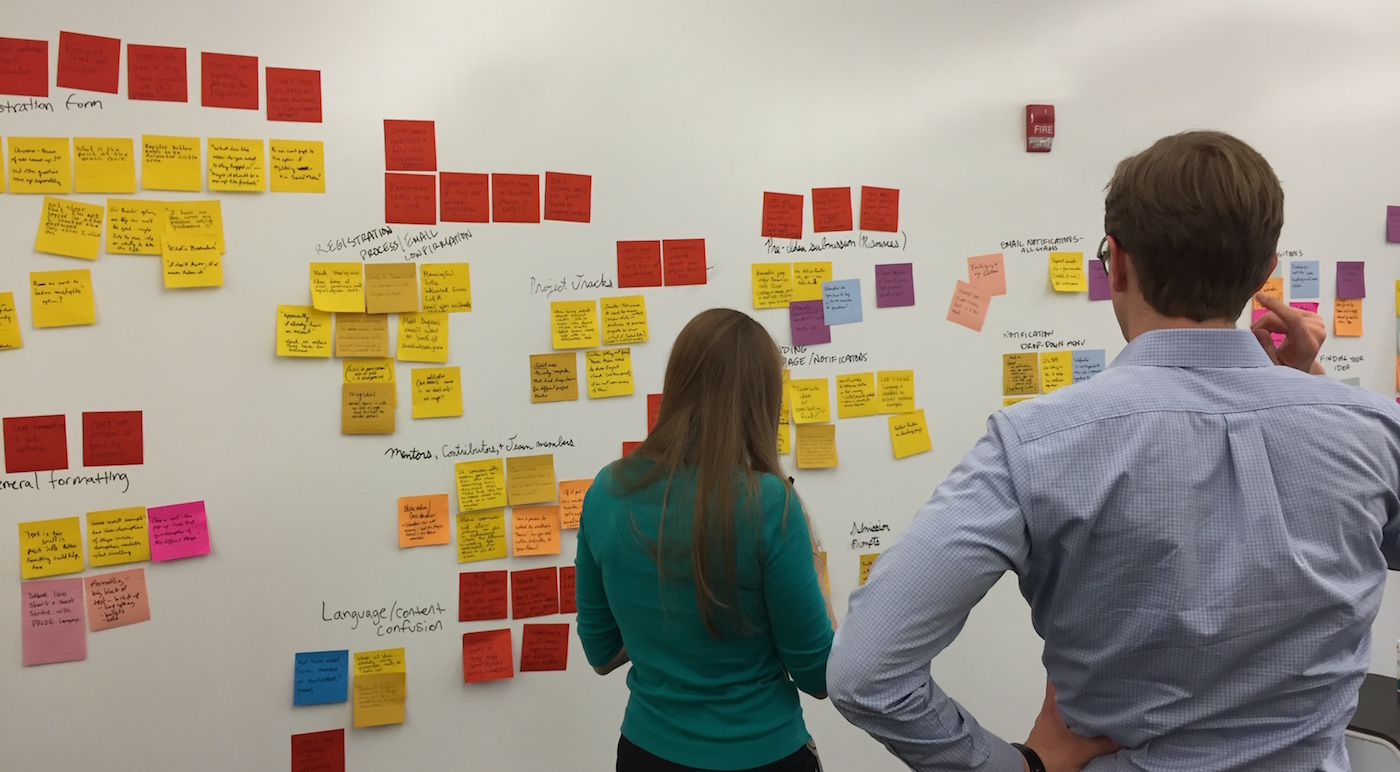 Image of post-it notes on whiteboard